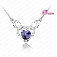 Free Shipping & amp,Gift Bag,Hotselling Wholesale Austria Crystal Heart Necklace Angel Pendant Necklace korean jewelry,THK137