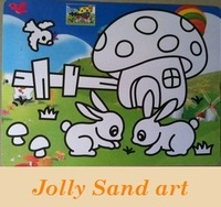 Children's DIY SAND ART, A4 size, Color Sand painting sets for children, mixed designs,  promotional item