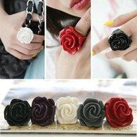 2012 Fashion Jewelry Resin Rose Rings Romantic Rose Ring Popular Lady Ring Free Ship