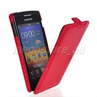 CARBON FIBRE FLIP HARD LEATHER BACK CASE COVER FOR SAMSUNG S8600 WAVE 3 III FREE SHIPPING