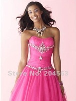 Free Shipping Long Strapless Appliques Prom Dress