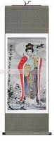 sooo beautiful 140*45 Chinese Silk Scroll Brocade Classical Beauty Painting used as gift,silk,free shipping,new arrivals,promo