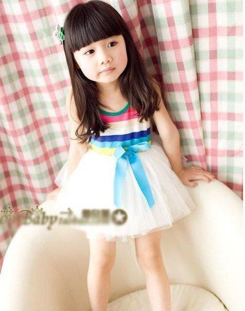 Hot sale designer 2012 dress ! 5pcs new arrival cut kids/girl's striped ...