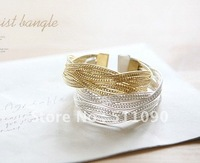 Promotion Price! 2014 Hot Gold and silver two color Braided hand catenary Free Shipping#01
