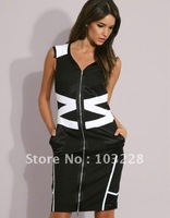 Dress Slim skirt black and white stripes of mixed colors V-neck dress dress/Ms. 2012-41
