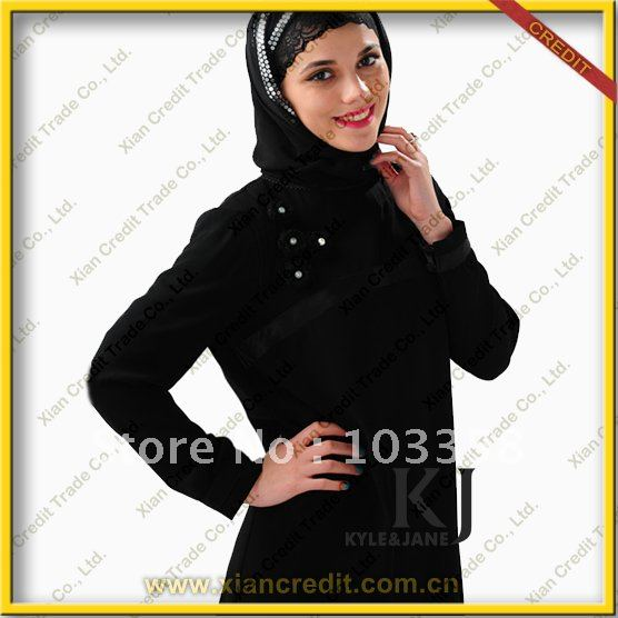 2012 Fashion Abaya with knitted flower on left chest
