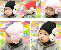 Min Order $20 (mixed order) Cheap Infant Cute Rabbit Cap / Multi-Color Baby Cotton Hat 6 Color  (KF-14)