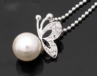 Min Order $20 (mixed order) Retail Fashion Butterfly Pearl Gift Necklace Jewelry  (SW-40)