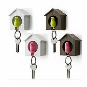 2 pcs/pack Sparrow Key Ring With Whistle And Bird's Nest Hang On The Wall / Keychain (SC-22)