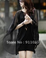 Han edition fairy cloak round brought black sleeveless snow spins dress dew shoulder