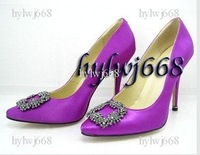 hot Women's shoes purple satin with square diamond Women's high heel pumps shoes