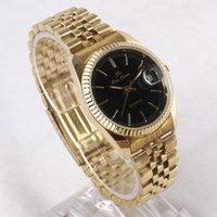 Luxury Style 6pcs Vogue Black Date Quartz Men Golden Stainless Steel Band Watchstl hch 622TN