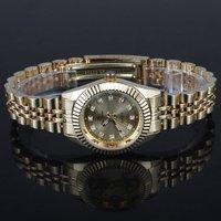 Luxury Style 6pcs Golden Face Crystal Index Quartz Women Stainless Steel Strap Watchstl hch 579TN