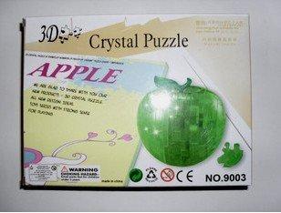 5 pcs/lot free shipping Crystal Treasure-box 3D jigsaw puzzle,apple shape jigsaw no led