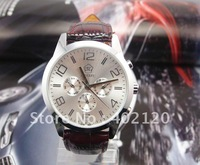 fashion watch men Free Shipping! Elegant Unisex Mechanical Watch With Genuine Leather Strap#QWJX014