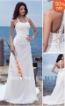 Sheath/ Column Halter Court Train Chiffon Wedding Dress