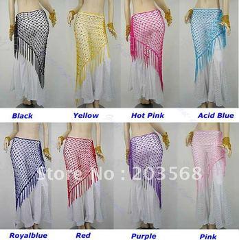 Belly Dance Dancing Triangular Shawl Wrap Hip Scarf Dancewear Costumes 8 Colors