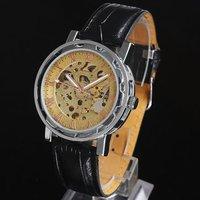 Luxury Style 5pcs Lot Brass-tone Skeleton Dial Men's Mechanical Leather Wristwatch mech NT0148