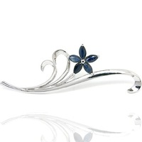 Sapphire brooch Free shipping Natural sapphire 925 silver plate 18k white gold brooch,1pc/jewelry box, flower with leaves style