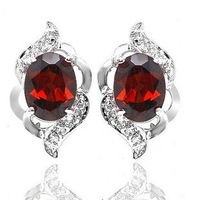 Free shipping Stud earring Ntural garnet 925 silver plated 18k white gold  Wholesale Perfect jewelry 1pc/jewelry box, #4