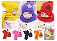 Free shipping!!!Baby's hat cotton cups five-pointed star design fashion knitted  baby cups 1month to 7year-old