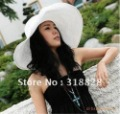 free shipping sexy lovely wide wire brim Summer Beach  Sun  Straw  Floppy hat