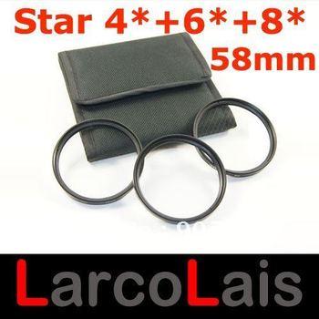 58mm 4X 6X 8X 4PT 6PT 8PT 4 6 8 Point Line Star Filter With 3 Pockets Case for 58 mm Lens for Fuji Camera