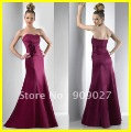 Charming 2012 Sweetheart Satin Flowers Floor Length Designer Weddinging Party Gown Bridesmaid Dresses 03-012