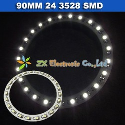 Free shipping + Wholesale + 5 pair /lot + Car angel eyes halo rings light 90mm 24 3528 1210 SMD led lamp white color(China (Mainland))
