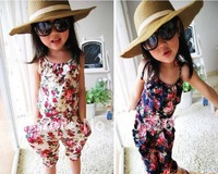 2 colors girl's flower Jumpsuit girl one piece clothes children overalls children clothes kids wear,3-8 years girl's clothes