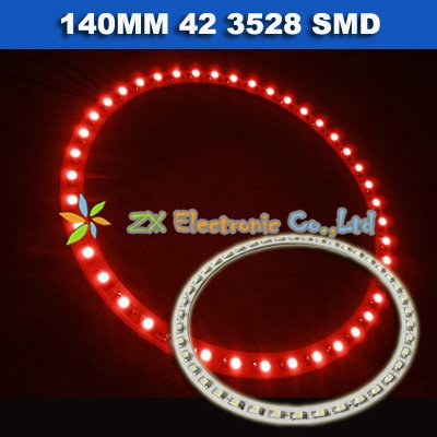 Best offer + Free shipping + Wholesale + 5 pair /lot + Car angel eyes halo rings light 140mm 42 3528 1210 SMD led lamp red color(China (Mainland))