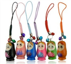 Colorful matryoshka Russia Russian Nesting wood wooden Doll cell mobile phone IPHONE 2 strap or Key Chain(China (Mainland))