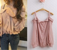 2012Vintage sweet Strapless Lantern Sleeve floral fashion doll temperament chiffon shirts, ladies blouses, lady fashion shirts