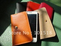 Free shipping Korea style wallet cell phone leather wallet case for iphone 4 smart pouch card holder leather case for iphone