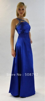 Free Shipping!!!!STUNNING & ELEGANT ONE SHOULDER LONG EVENING BLUE DRESS