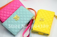 Crown Bling diamond Soft Wallet Leather with Card Pouch Case for iPhone 3g,3GS,4G, 4S,5,Touch 5