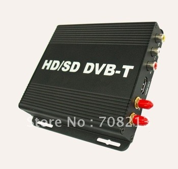Car Mobile HD Digital TV Receiver Box  H.264/MPEG4 DVB TV Tuner fit for DVB-T car DVD connect via AUX in freeshiping