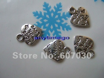Wholesele Tibetan Silver Heart Charm made with love dangle Pendants 500pcs Free Shipping