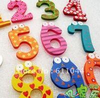 free shipping figures number 50packs/lot 10pcs/pack Wooden  Cartoon Fridge Magnets Refrigerator sticker kids educational toys