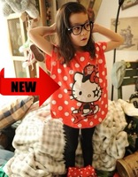 wholesale 2012 branded design girls red polka dot flutter sleeve Summer cotton t-shirts top dress Korean clothes free shipping