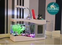 New gift  10pc,USB LCD Desktop Lamp Light mini Fish Tank  with Aquarium LED Clock  & pen holder &pumming to auto cycling water