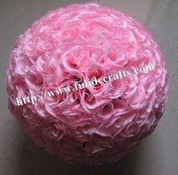 25cm pink wedding silk kissing ball,pink,wedding flower ball,party decoration flower