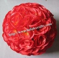 30cm silk rose flower balls optional-color kissing wedding ball-wine red