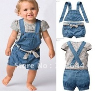 Hot sell ,New style baby clothing set(flower t shirt+jeans+strap top+belt),baby suits summer clothes  ,5 pcs/lot