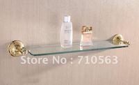 Free Shipping - Single Tier Gold Plating Bathroom Glass Shelf - Wholesale (1204)
