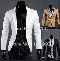 2014 new arrive blazer men ,single button long sleeve  men suit jacket black  khai and white ,M,L,XL