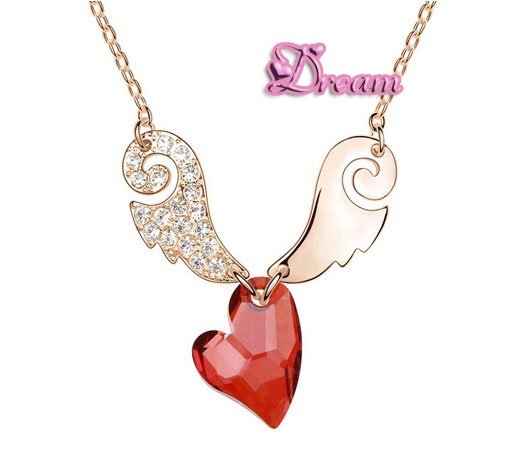 Free Shipping Wholesale Brand classic Crystal Cupid Love heart pendant Necklace make with SWK element crystal