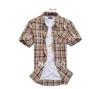 HOT!!!! dropship Plaid Basic Short Sleeve Button Down Shirt Chinese SIZE HOT!!!!--AOO3