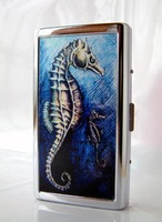 Stainless steel cigarette case=Double-sided picture=14 loaded long-wheelbase=Sea horse