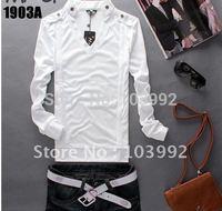 free shipping /  men TEES cotton,long sleeve V-NECK T SHIRT TOPS,M-XXL white black gray